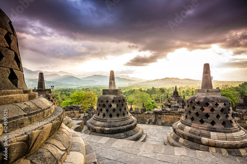 Wall Murals Indonesia sundown at borobudur temple, indonesia