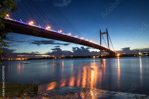 Canvas Prints Bridge Vidyasagar bridge (setu) on river Hooghly at twilight time.