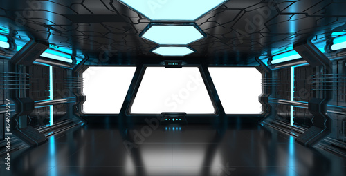 Spaceship blue interior with empty window 3D rendering elements