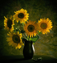 Fototapeta Słoneczniki Beautiful sunflowers in vase