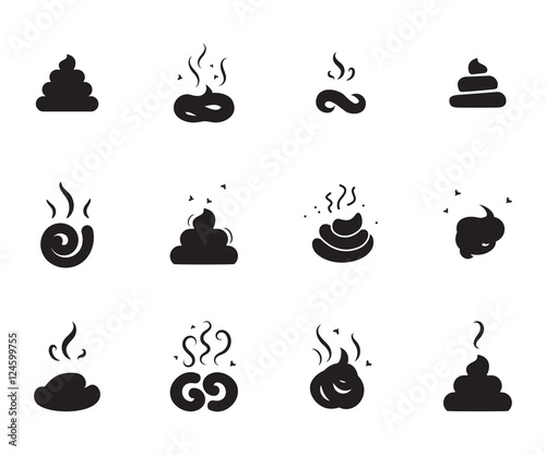 Simple Poop Icon On White Background Wallpaper Mural