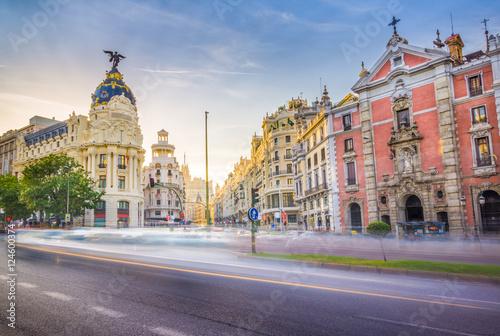 Spoed Fotobehang Madrid Where Gran Via meets Alcala