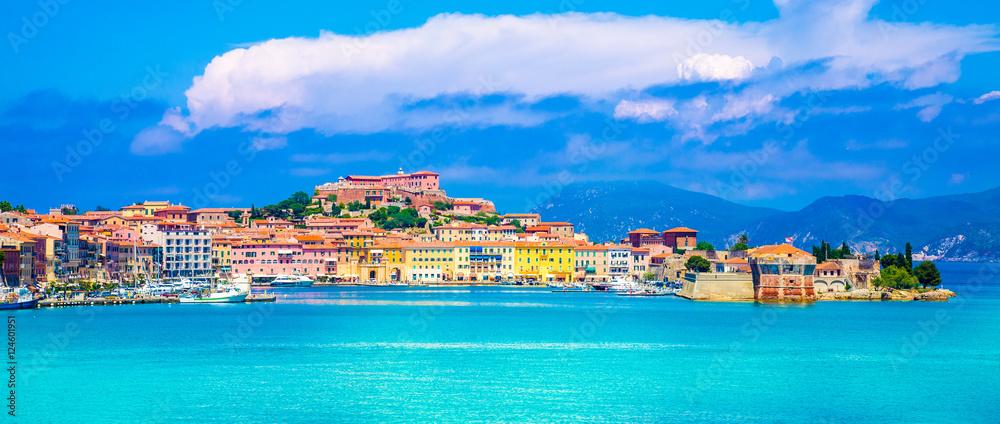 Fototapety, obrazy: Panoramic view over Portoferraio town of  isola d'Elba, Elba island in Tuscany region, Italy.