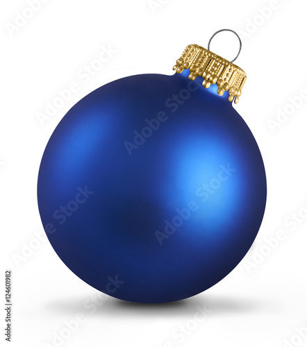 Photo  Blue christmas ball over white background
