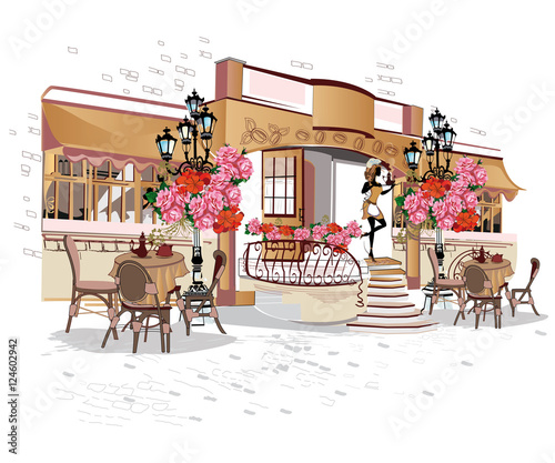 Foto op Canvas Drawn Street cafe Series of backgrounds decorated with flowers, old town views and street cafes.