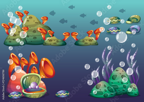 Aluminium Prints Submarine cartoon vector underwater objects with separated layers for game art and animation game design asset in 2d graphic
