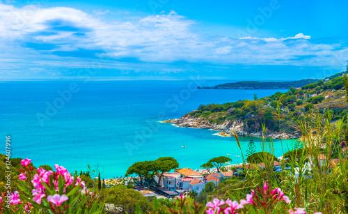 Foto op Plexiglas Toscane Panoramic view over cavoli beach and coast in Elba island, Tuscany, Italy.