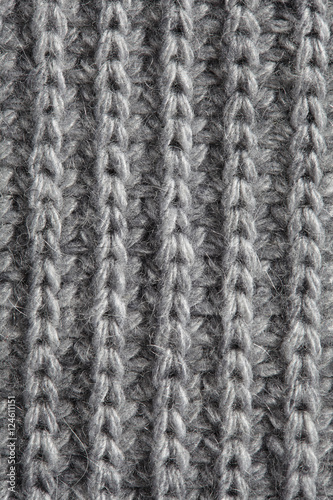 Fotografie, Obraz  Gray knitted fabric background