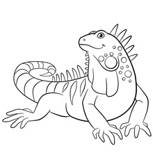 Coloring Pages. Cute Iguana Sm...