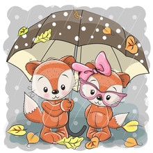 Two Cute Cartoon Foxes With Umbrella