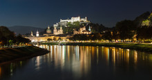 Old Historic City Of Salzburg In Austria By Night
