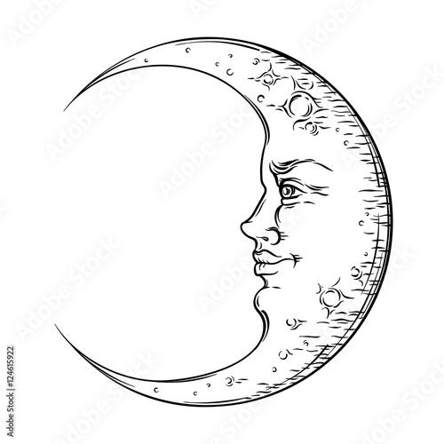 Fotografía Antique style hand drawn art crescent moon