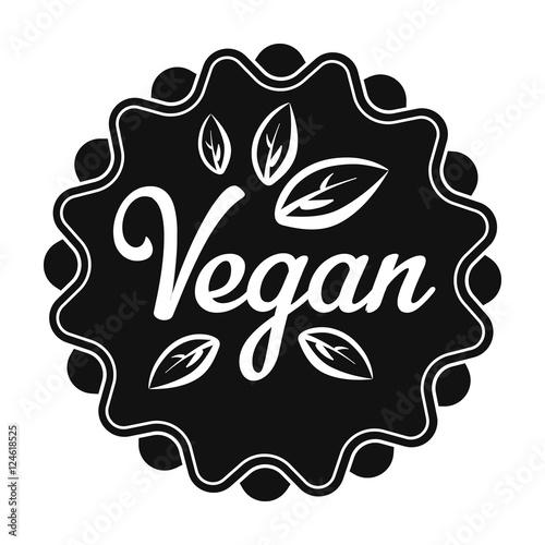Vegan icon in black style isolated on white background  Label symbol