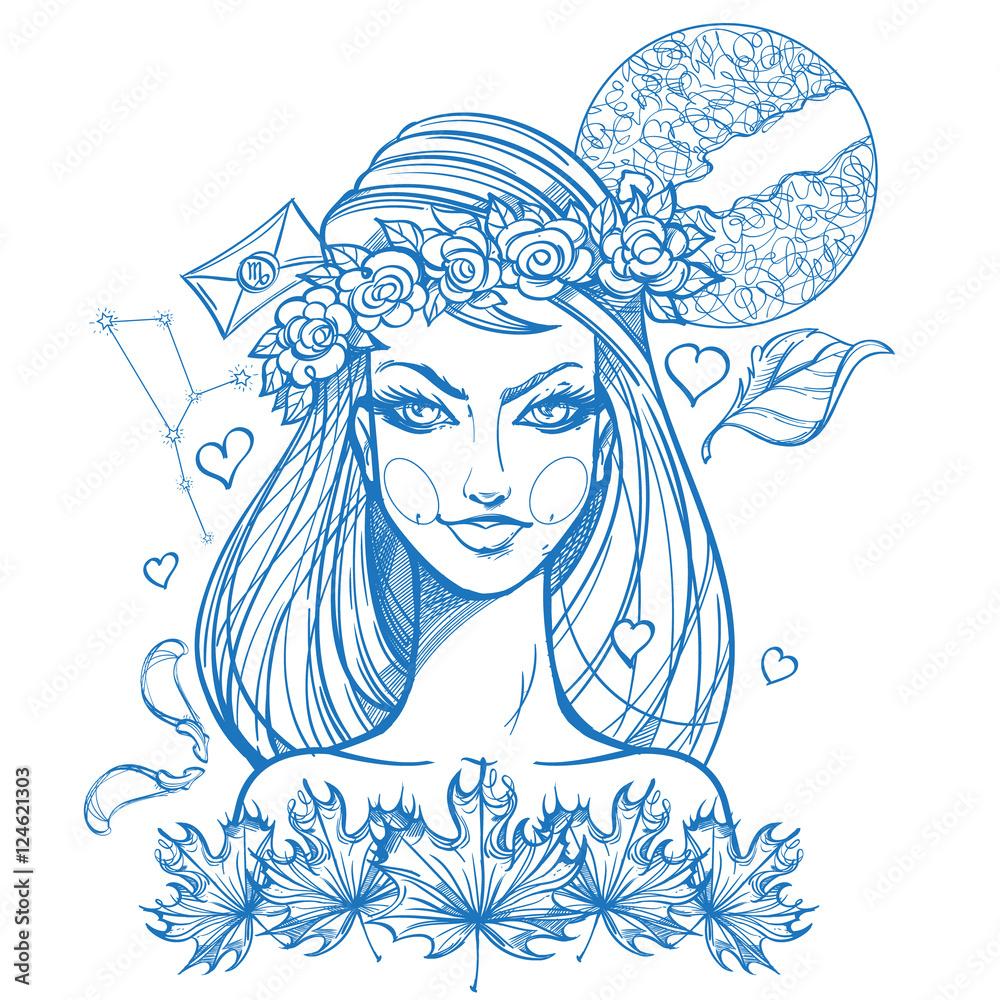 Portrait Of The Girl Symbolizes The Zodiac Sign Virgo Foto Poster