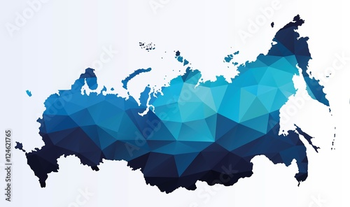 Polygonal map of Russia Fototapet