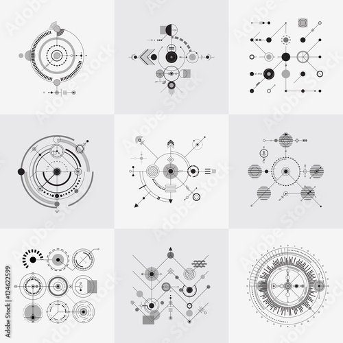 Fotomural  Scientific bauhaus technology circular grids vector set