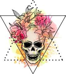 Naklejka Trash skull with blood splatter