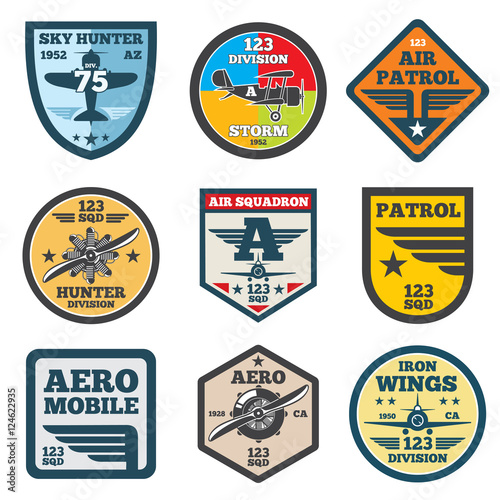 Fotografía  Army jet, aviation, air force vector labels, patch badges, emblems and logos set