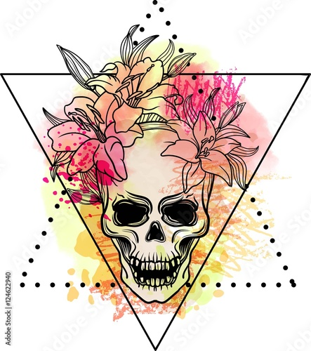 Printed kitchen splashbacks Watercolor skull Trash skull with blood splatter