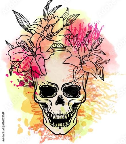 Foto auf AluDibond Aquarell Schädel Trash skull with blood splatter