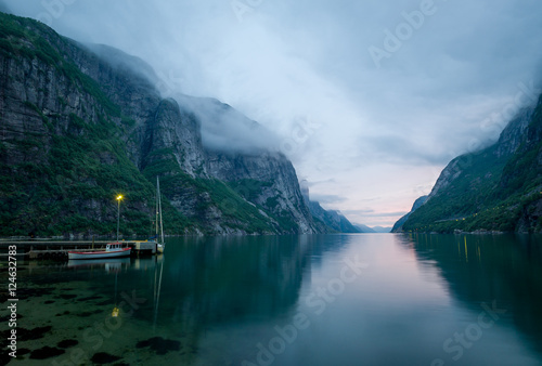 Garden Poster Scandinavia Night landscape of beautiful Norway fjord.