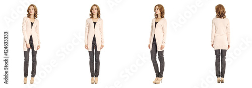 Fotografía  Skinny brunette fashion model in pink cardigan isolated on white