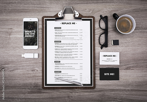 Menu Mockup On Table With Devices And Coffee Cup Buy This Stock - Menu mockup template