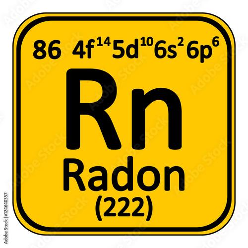 Fényképezés Periodic table element radon icon.
