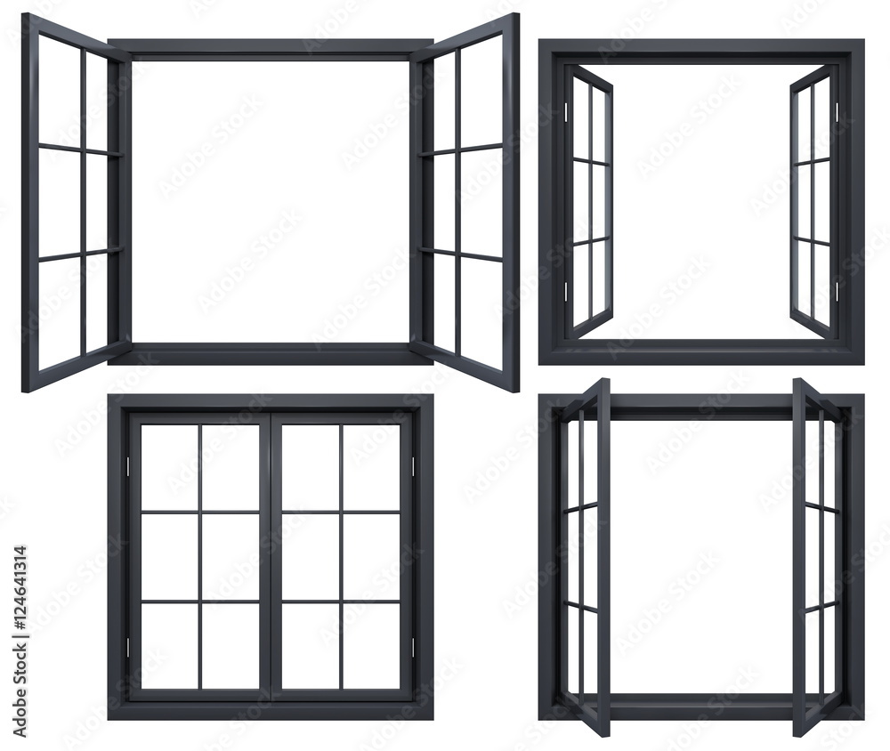 Fototapety, obrazy: Collection of black window frames isolated on white