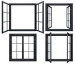 canvas print picture - Collection of black window frames isolated on white