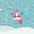 Santa Claus hanging on tree branch