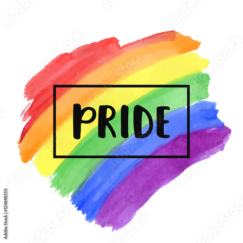 Fotografía  Gay Pride lettering on a watercolor rainbow spectrum flag