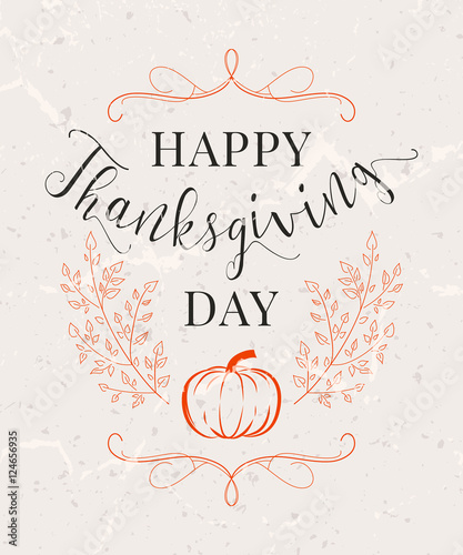 Vector illustration of Happy Thanksgiving Day, autumn vintage design