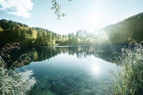 Fotobehang Meer / Vijver lake in forest, Croatia, Plitvice
