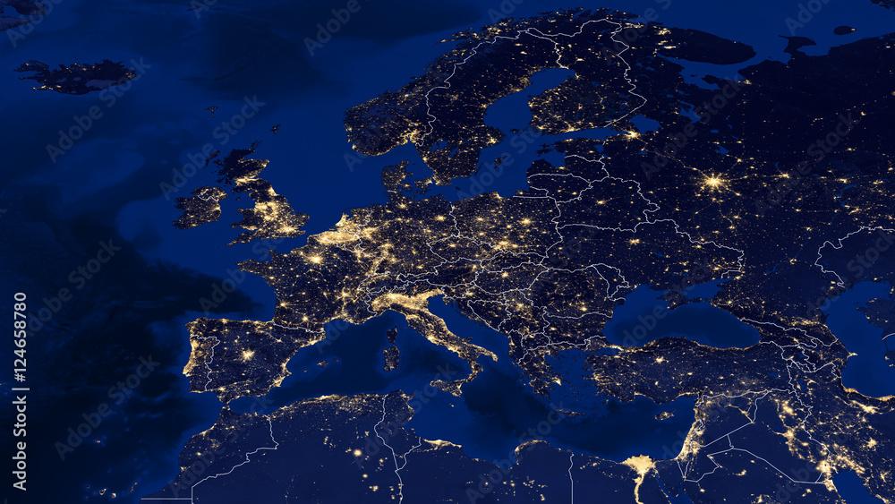 Fototapety, obrazy: Europe - Night & Borders