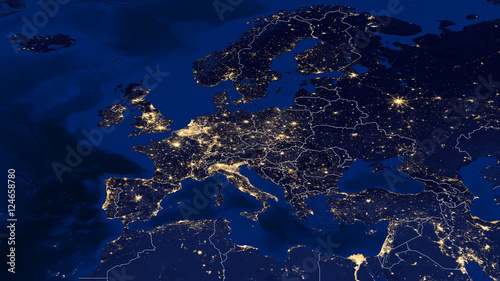 Obraz Europe - Night & Borders - fototapety do salonu