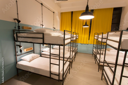 Modern Loft With Bunk Beds In Youth Hostel With Dormitory Rooms