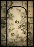 Floral stained glass window.