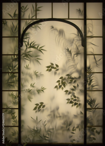 Photo  Floral stained glass window.