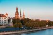 Riga Latvia. View Of 11 November Embankment Of Daugava. Towers