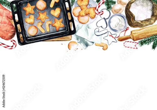 Canvas Prints Watercolor Illustrations Baking Cookies. Watercolor Illustration with blank space for text.
