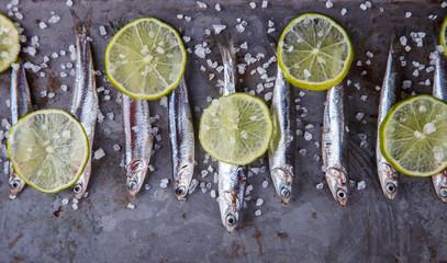 Fototapeta samoprzylepna Anchovy Fresh Marine Fish.Appetizer. selective focus.