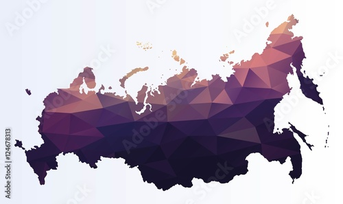 Polygonal map of Russia Tablou Canvas