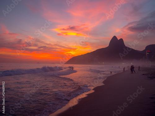 Foto op Canvas Rio de Janeiro Ipanema Beach at Sunset in Rio de Janeiro