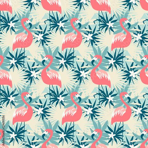 piekny-bezszwowy-wzor-z-flamingiem-i-tropikalnymi-roslinami