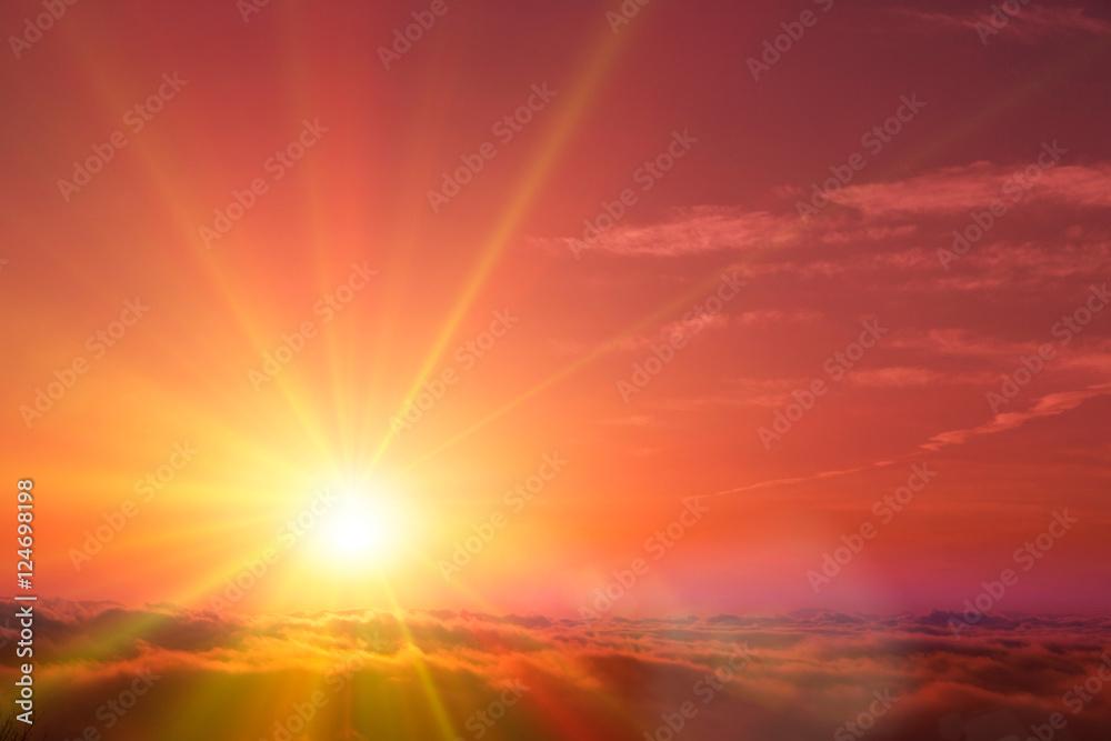 Fototapety, obrazy: 雲海と太陽