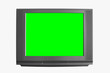 Leinwandbild Motiv front view modern blank black television or tv and green screen