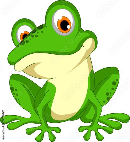 funny Green frog cartoon sitting Fototapeta