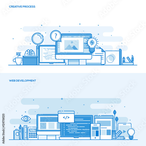 Flat line color concept- Creative Process and Web Development Wall mural