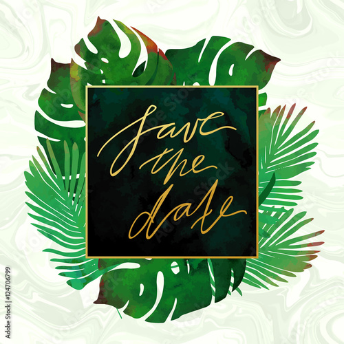trendy tropical jungle style vector invitation template watercolor paint textured palm tree leaves on